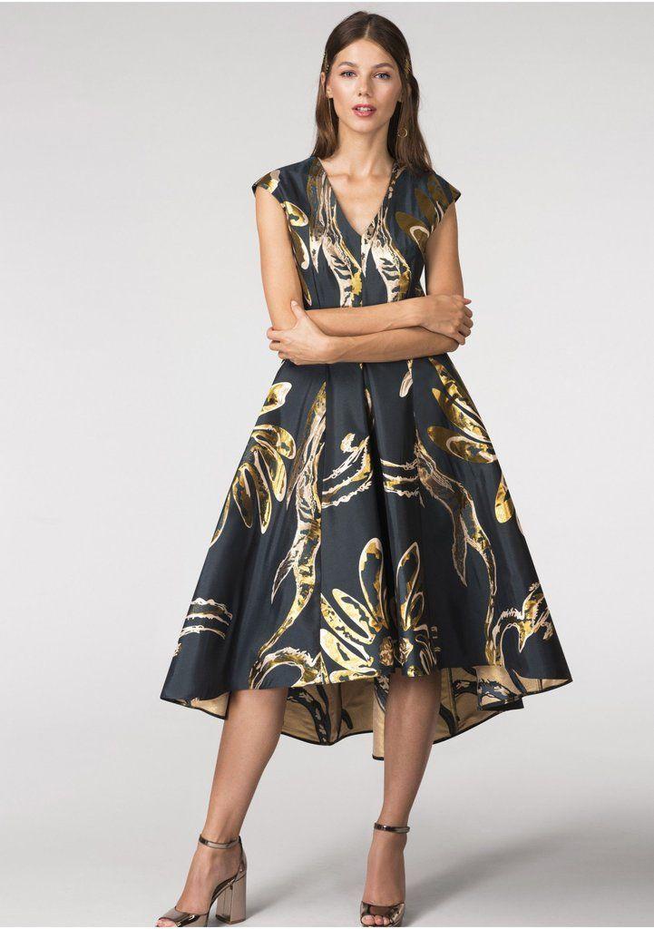 4e67a719248 Gold Metallic Hi Low Dress