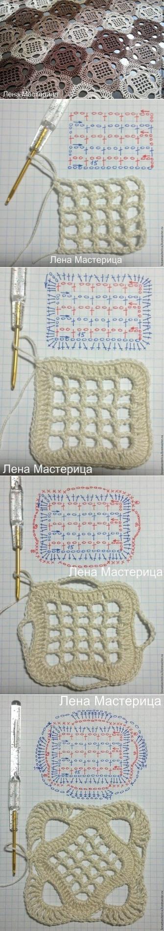 Вяжем крючком красивый квадратный мотив <3 Deniz <3