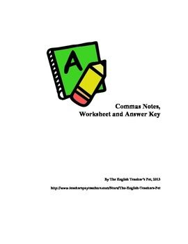 Commas Lesson Practice Questions And Answer Key English Ideas