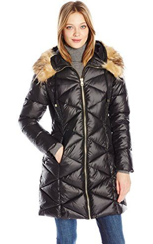 4f968952196f GUESS Women s Polyfill Puffer with Gold Zipper and Quilt Detail, Black, M ❤  GUESS Apparel (GIII)