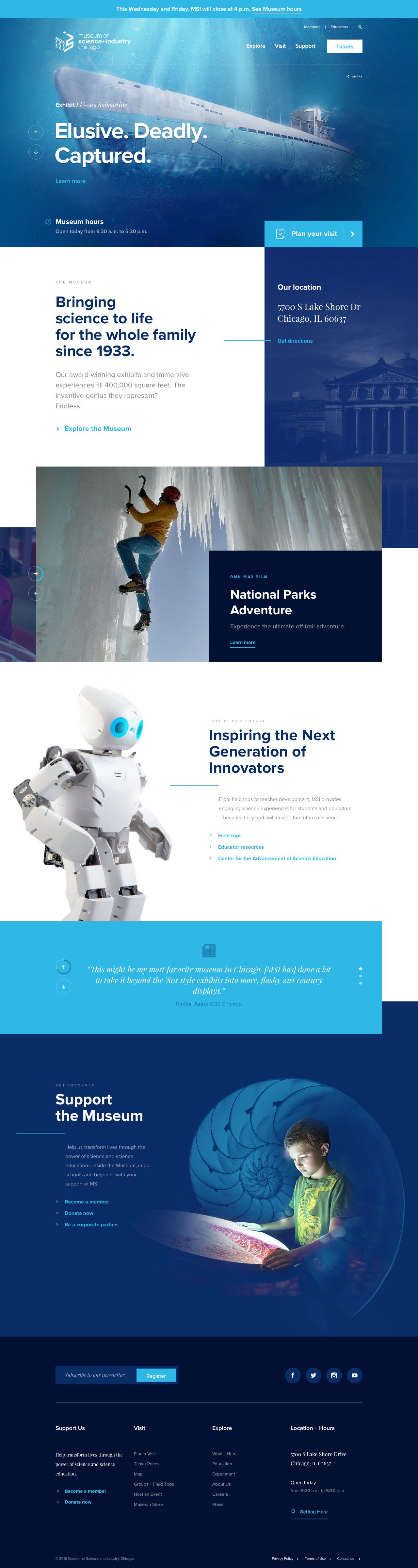 Museum Of Science And Industry Of Chicago Web Design Inspiration Topdesigninspiration Web Design Web Layout Design Web Design Inspiration
