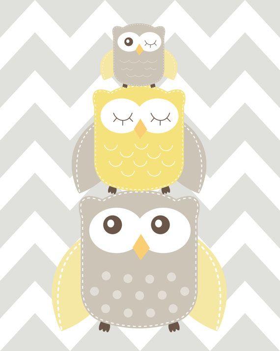 Nursery Art, Nursery Owl Art, Grey and Yellow Nursery, Owl nursery print, Owl Nursery, Choose your colors