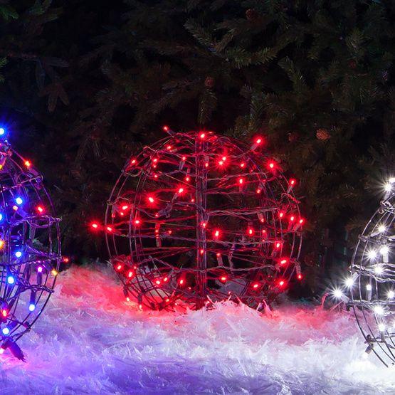 Red Led Christmas Light Ball Fold Flat