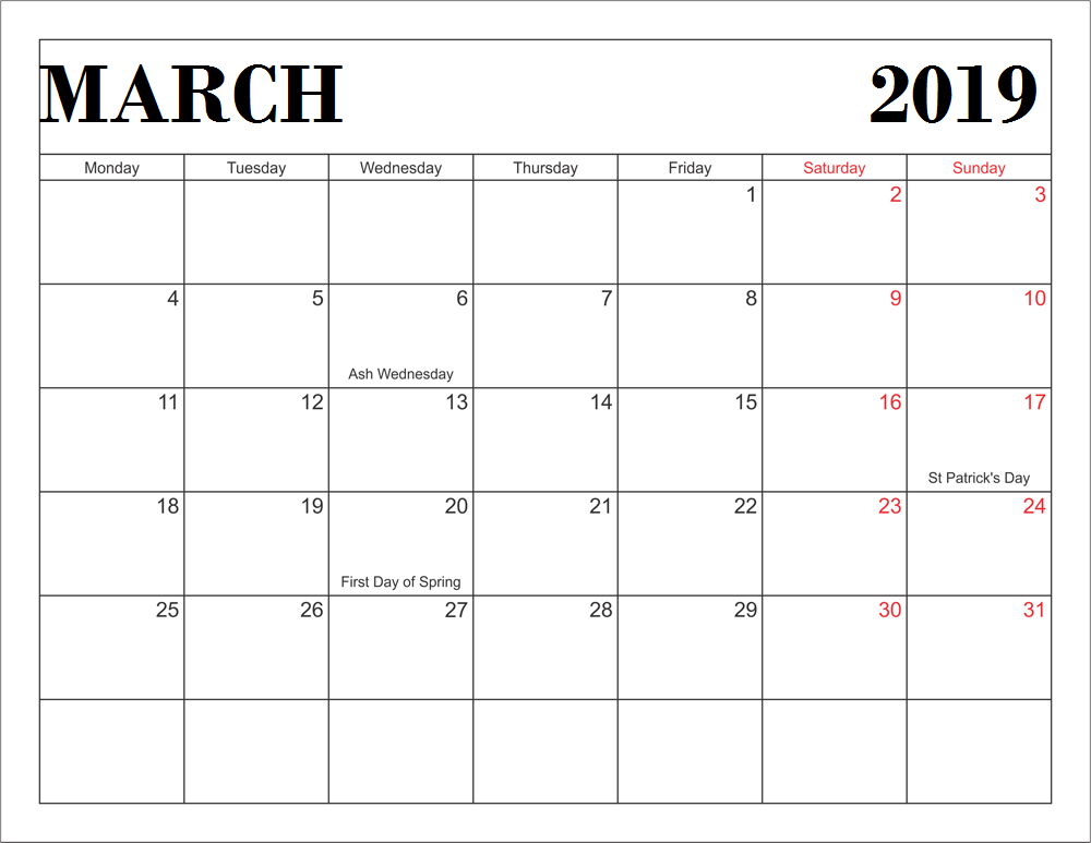 March 2019 Calendar With Holidays Monthly Calendar Templates