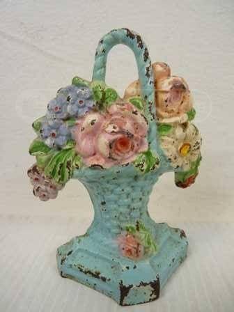Antique Cast Iron Flower Basket Door Stop Rusty Decorative Pieces Pinterest And Doors