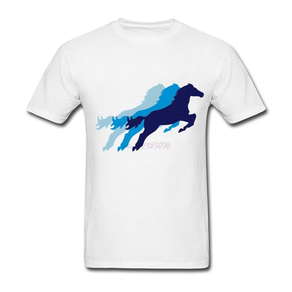 Males dark horse O Collar Men tops Colorful Jumpin' Horse 100% CottonOld Man Short Sleeve Cheap t shirts