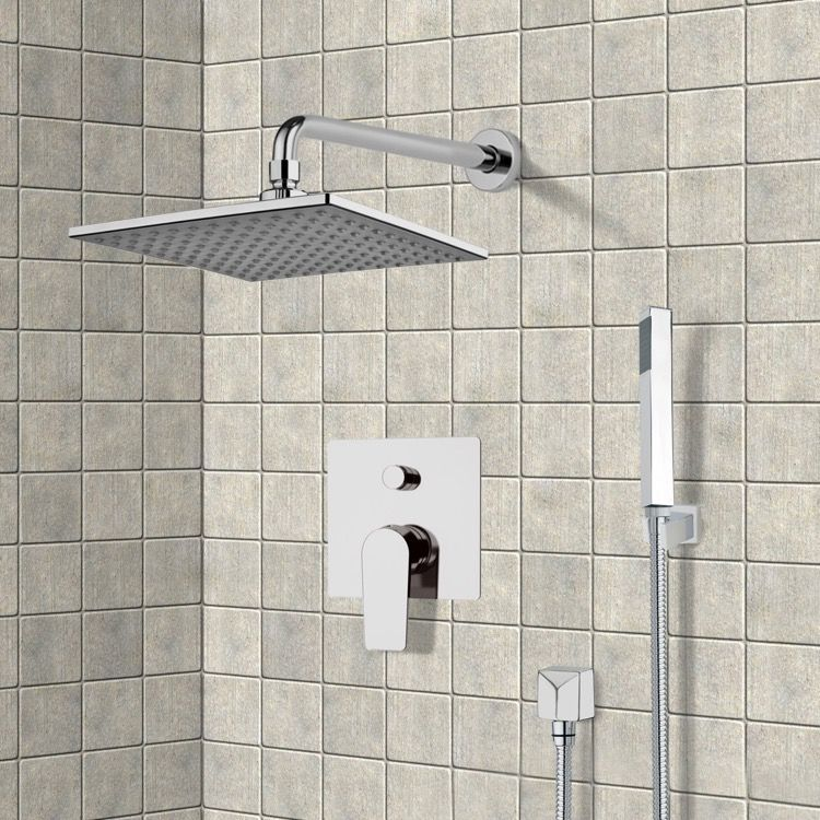 Chrome Shower System With 8 Rain Shower Head And Hand Shower