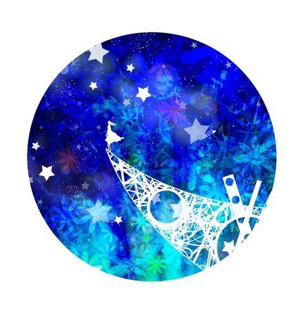 Фото Девушка стоит на фоне неба с падающими звездами, арт от Harada Miyuki (© Maya Natsume), добавлено: 09.03.2015 21:40