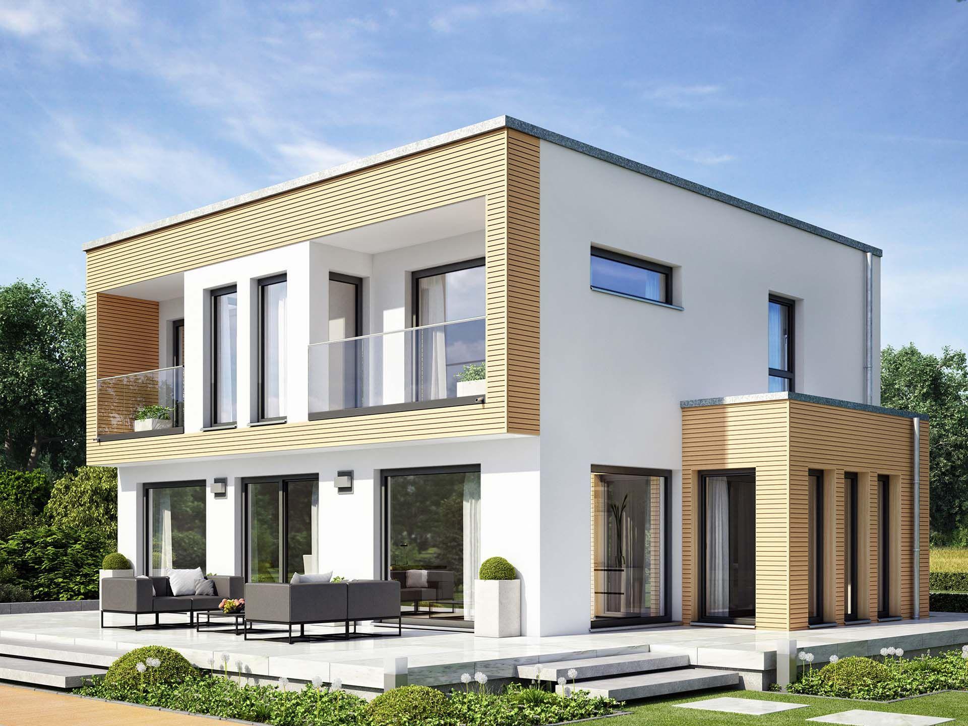 Evolution 154 v8 • einfamilienhaus von bien zenker • elegant modernes fertighaus mit fassadenrahmen