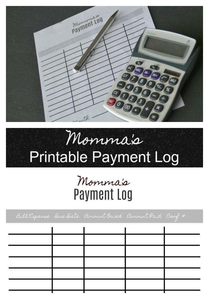Mommas Printable Payment Log