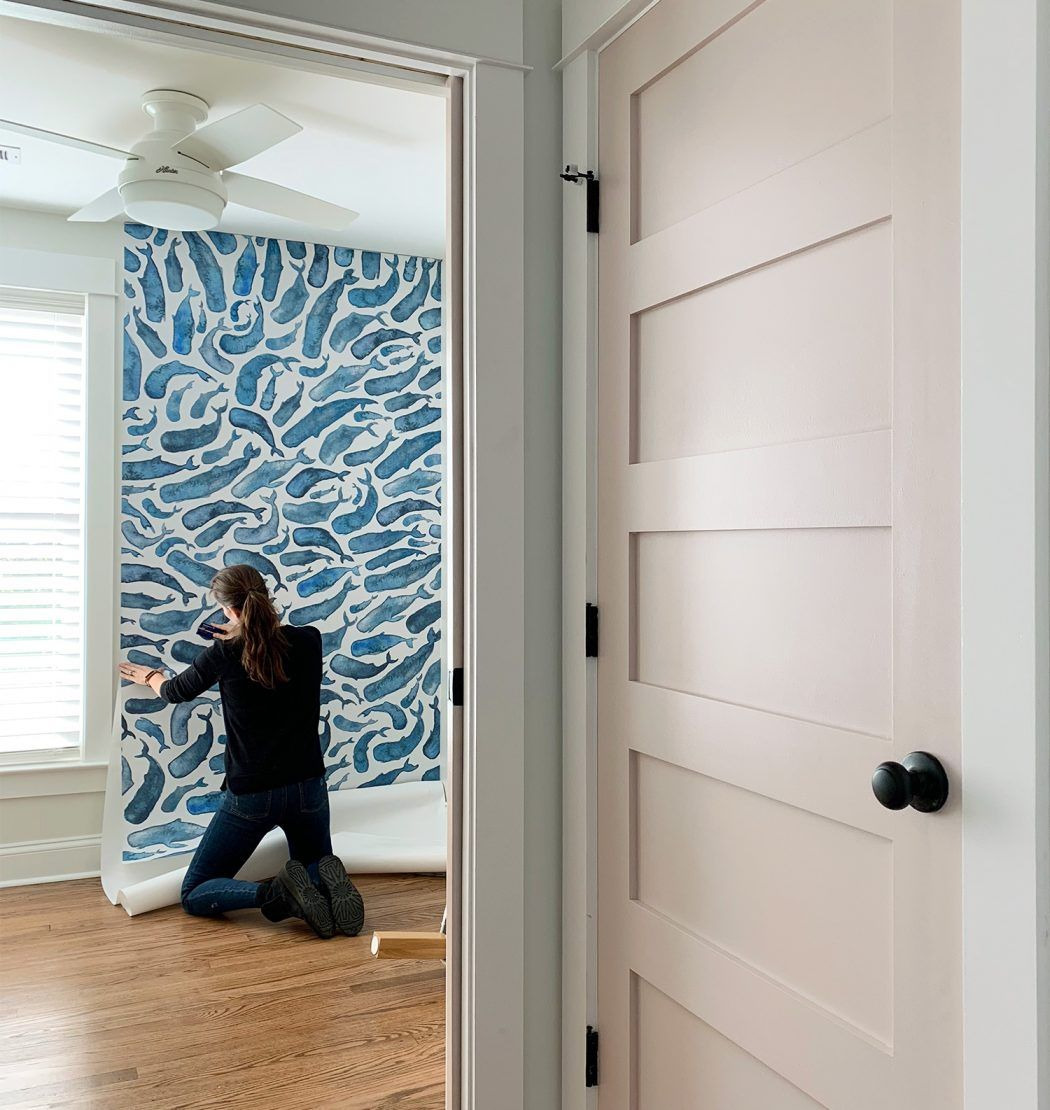 How To Install A Removable Wallpaper Mural Young House Love Painted Brick House Home Diy Removable Wallpaper