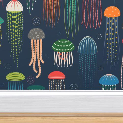 Just Jellies Jellyfish Self Adhesive Wallpaper Wallpaper Peel And Stick Wallpaper