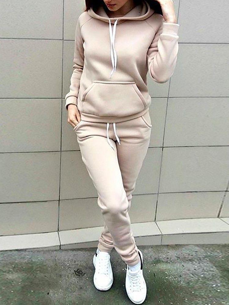 Long Sleeve Hoodie Drawstring Pants Sets Tracksuit Women Sport Suit Women Sweat Suits Women