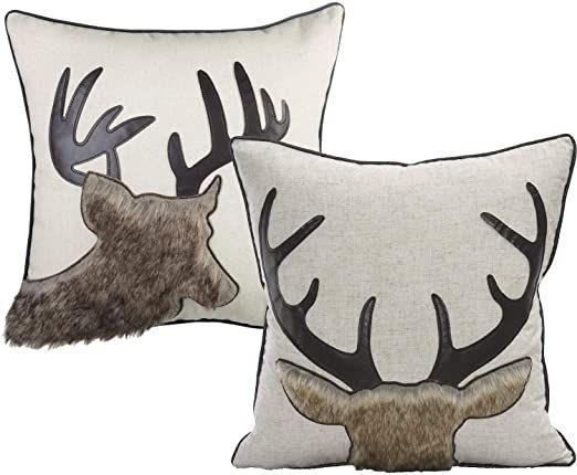 Little Funny Christmas Deer Throw Pillow Covers Farmhouse Linen Deer Cushion Dec...