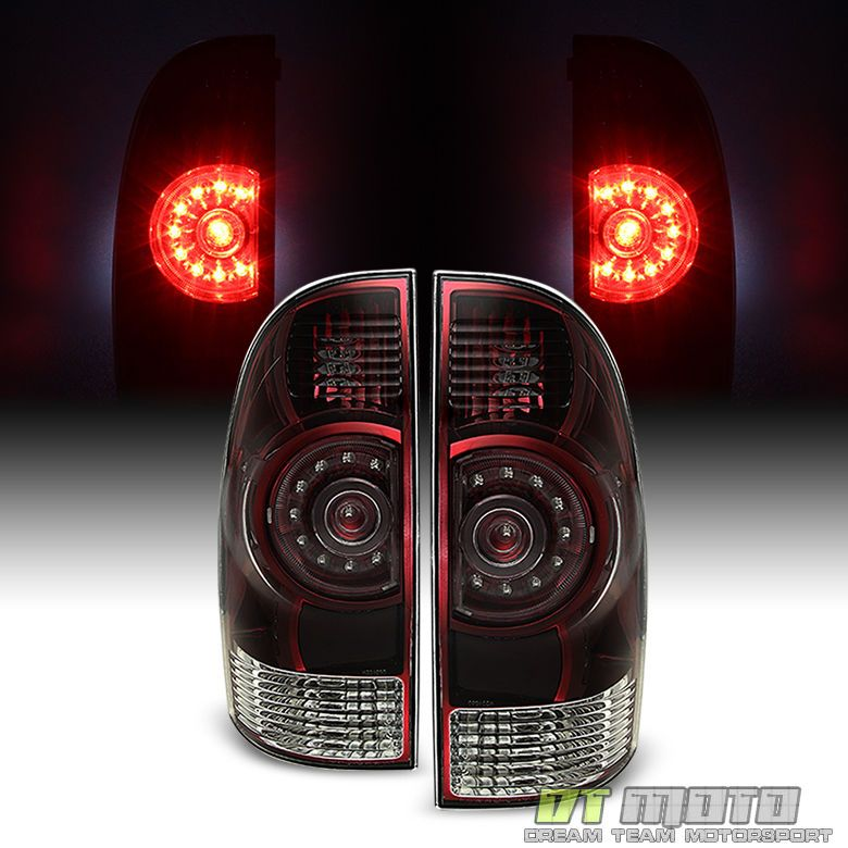 For 05-15 Toyota Tacoma Left+Right Full LED Tail Light Brake Lamp Dark Smoked