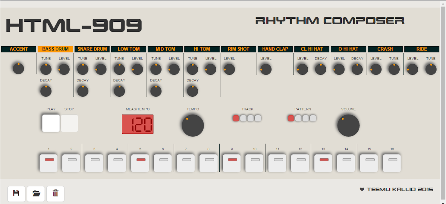 The HTML909 Drum Machine Emulation For Your Browser By