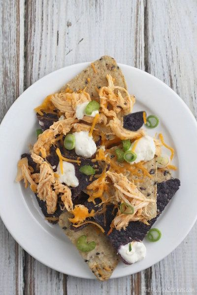 Baked Buffalo Chicken Nachos Recipe (Started in Your Crock Pot!) {www.TwoHealthyKitchens.com}