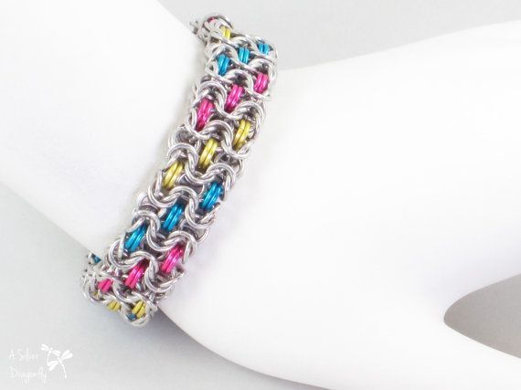 LGBTQ Chainmail Jewelry Pansexual Pride Pink Yellow Blue and Silver Chainmaille Bracelet Byzantine Weave