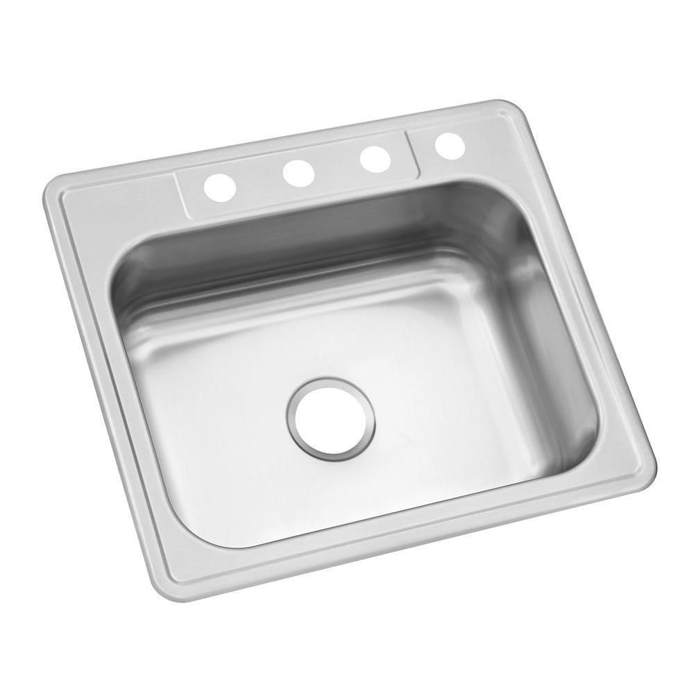 Glacier Bay Top Mount Stainless Steel 25 in. 4-Hole Single Bowl ...