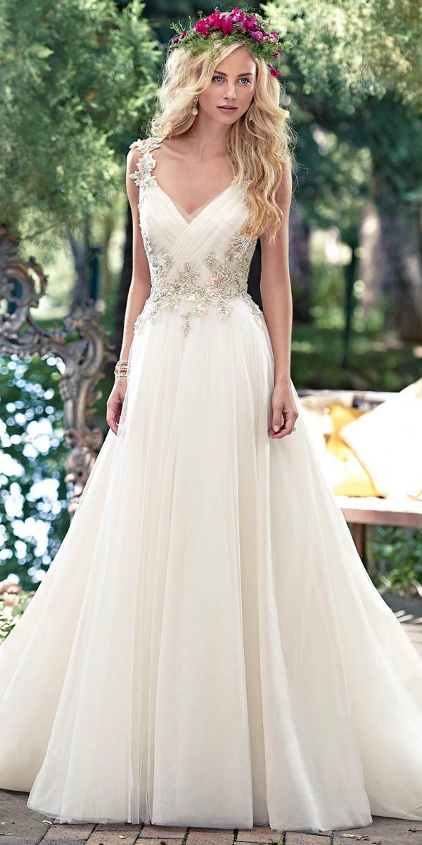 019630166ed A-line Wedding Dresses   Picture Description Fabulous Tulle V-neck Neckline  A-line Wedding Dresses with Beaded Lace Appliques