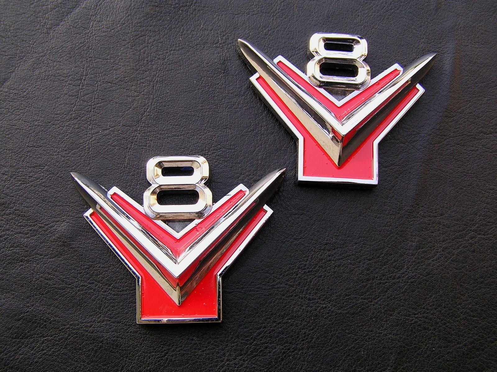 FORD V Y BLOCK PAIR Metal Car Emblems Badges NEW Suit - Car sign with namescustom car logodie casting abs car logos with names brand emblem