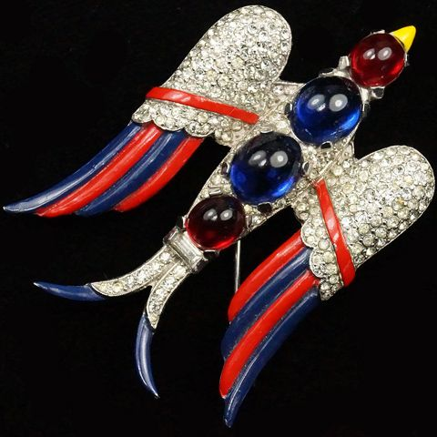 1940s Trifari 'Alfred Philippe' WW2 US Patriotic Ruby and Sapphire Cabochon Red White and Blue Flying Swallow Bird Pin....