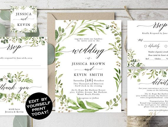 Pea Wedding Invitations Template
