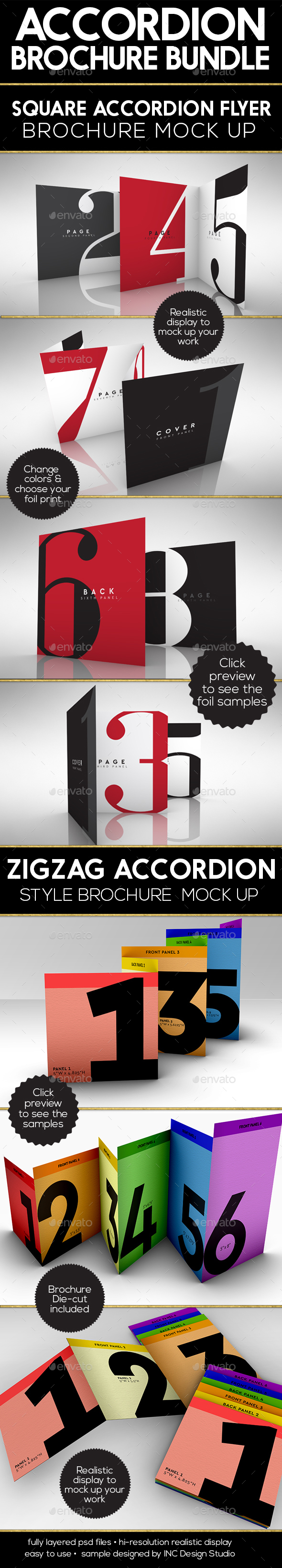 Accordion Brochure/Flyer Mock Up PSD Bundle  Template • Only available here ➝ http://graphicriver.net/item/accordion-brochureflyer-mock-up-bundle/16541254?ref=pxcr