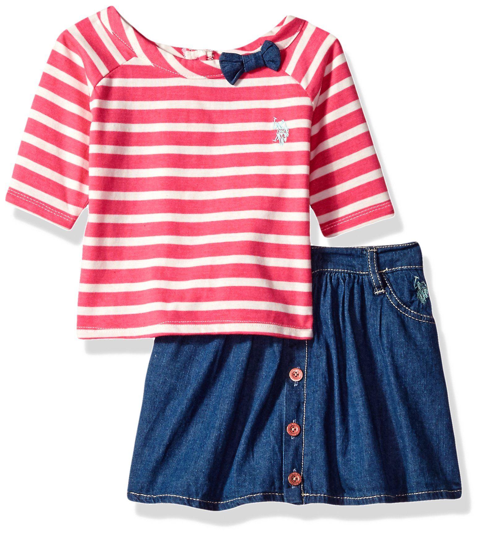 US Polo ASSN Little Boys Pin Striped Woven Shirt 2pc Denim Short Set