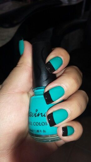 Turquoise And Black Tip Done By Jenny Nguyen At Art Nails 2 Tulsa