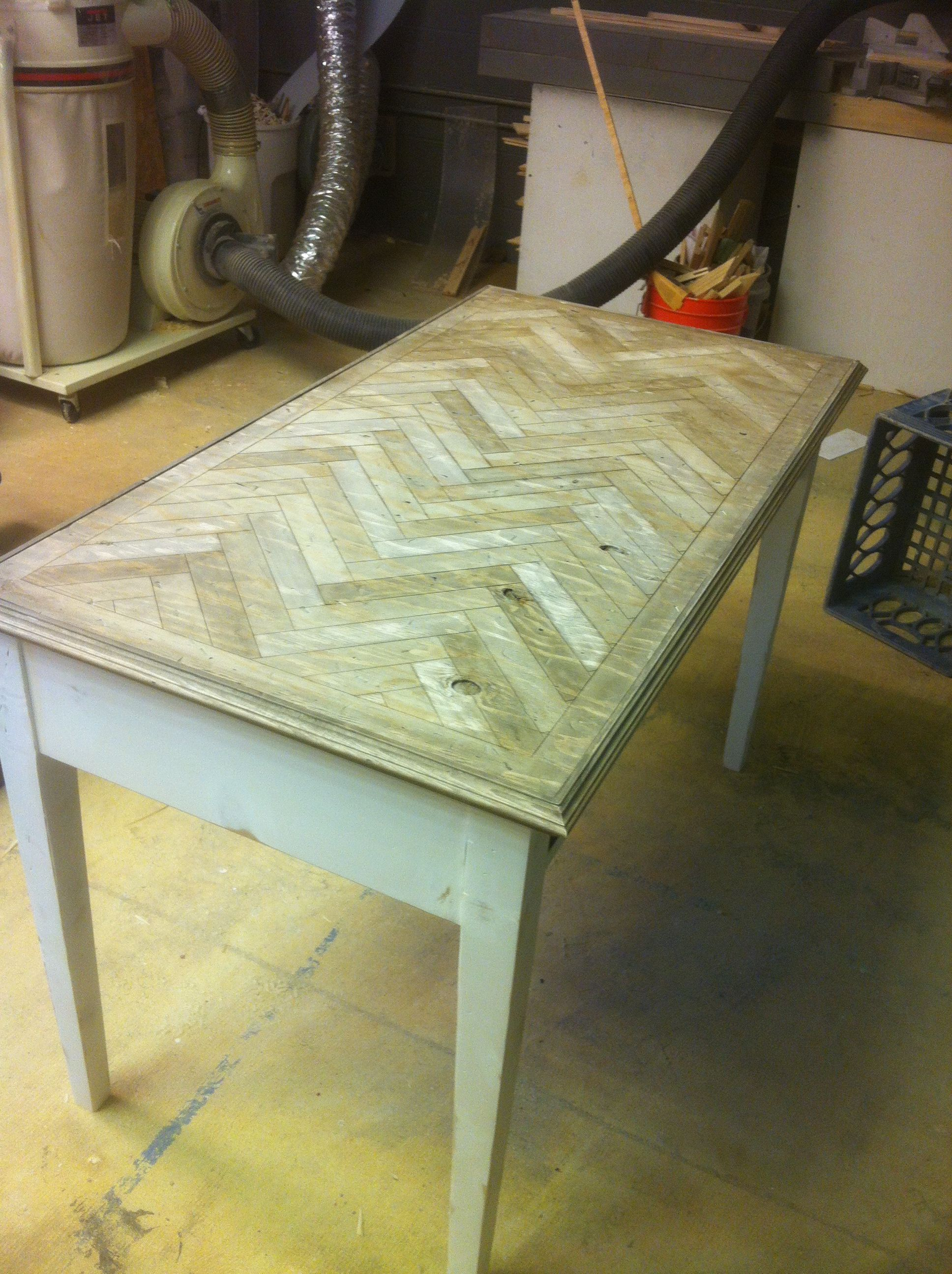 Just finished this desk redo.  The top harringbone pattern was created in our shop with our laser cutter.