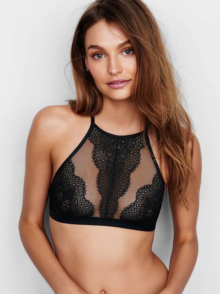 c17d56c061a41f Crochet Lace High-neck Bralette - Body by Victoria - Victoria s Secret