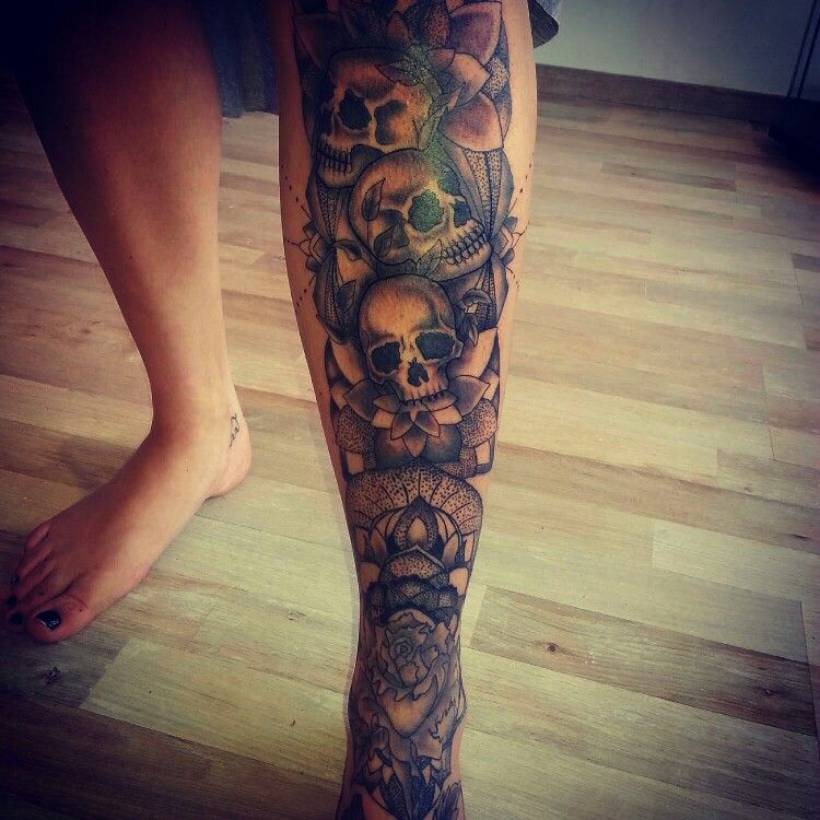 Skull leg tattoo mandala lower leg piece black and grey for Skull leg tattoos