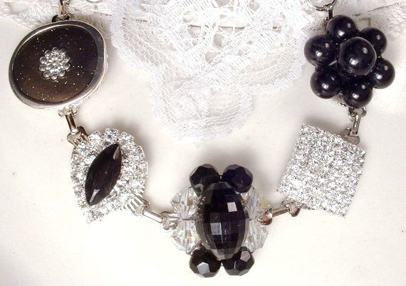 Black & Clear Crystal Rhinestone Silver Bracelet by AmoreTreasure
