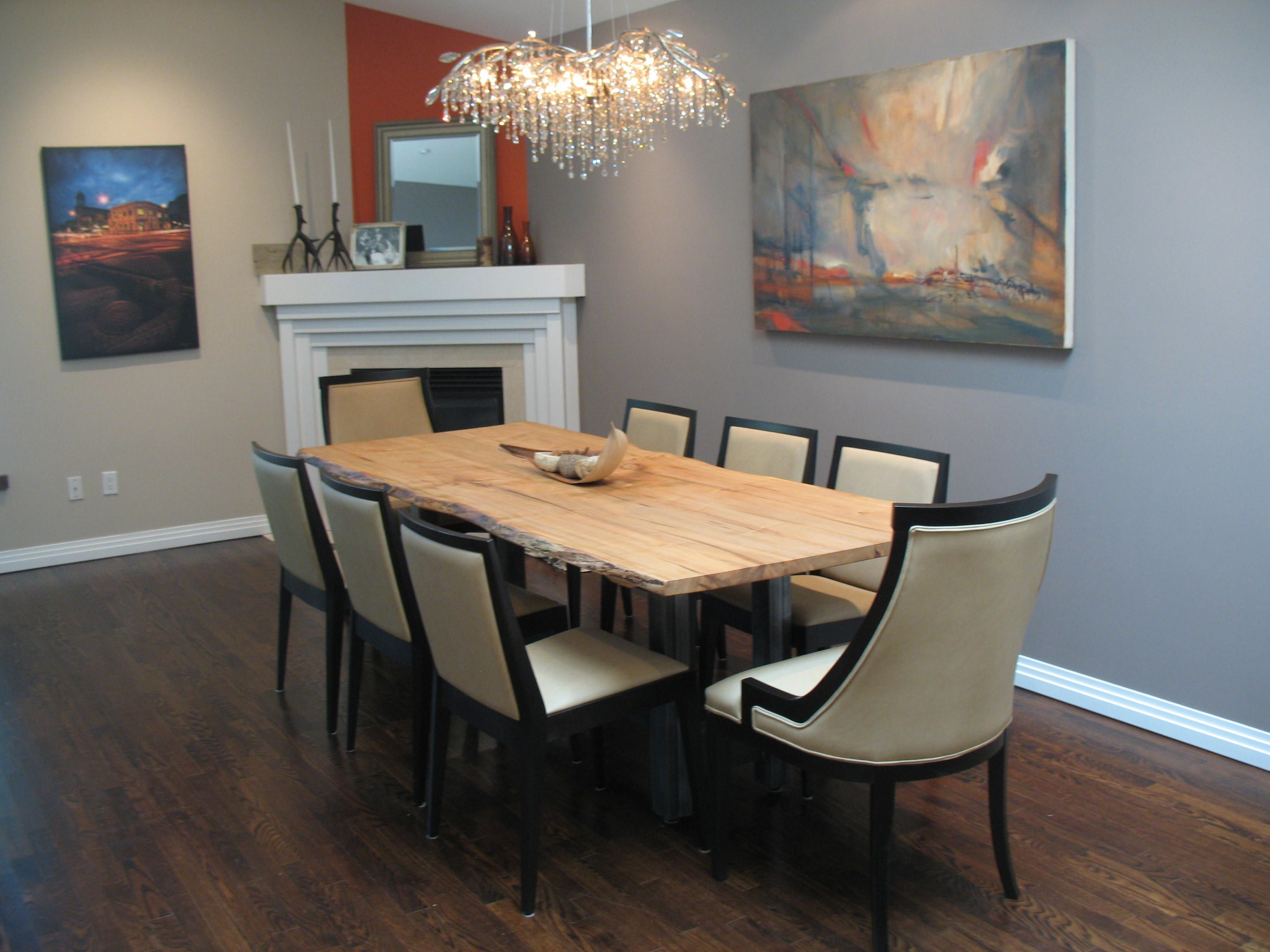 Toronto Clients Dining Room Custom Made Live Edge Table With Stainless Steel Base