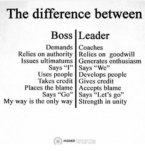 Leader Vs Boss Google Search Boss Vs Leader Leadership Quotes Love Me Quotes