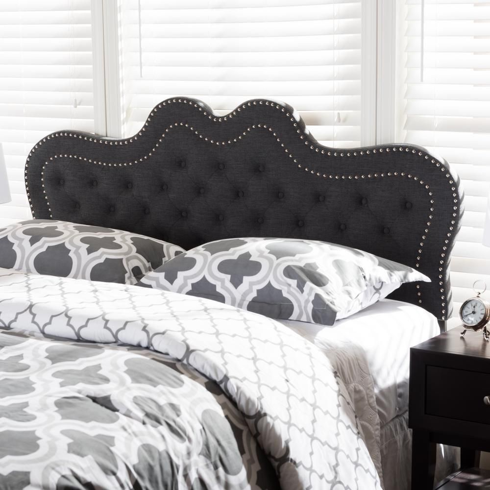 Ivy Dark Gray Fabric Upholstered Queen Size Headboard | Pinterest
