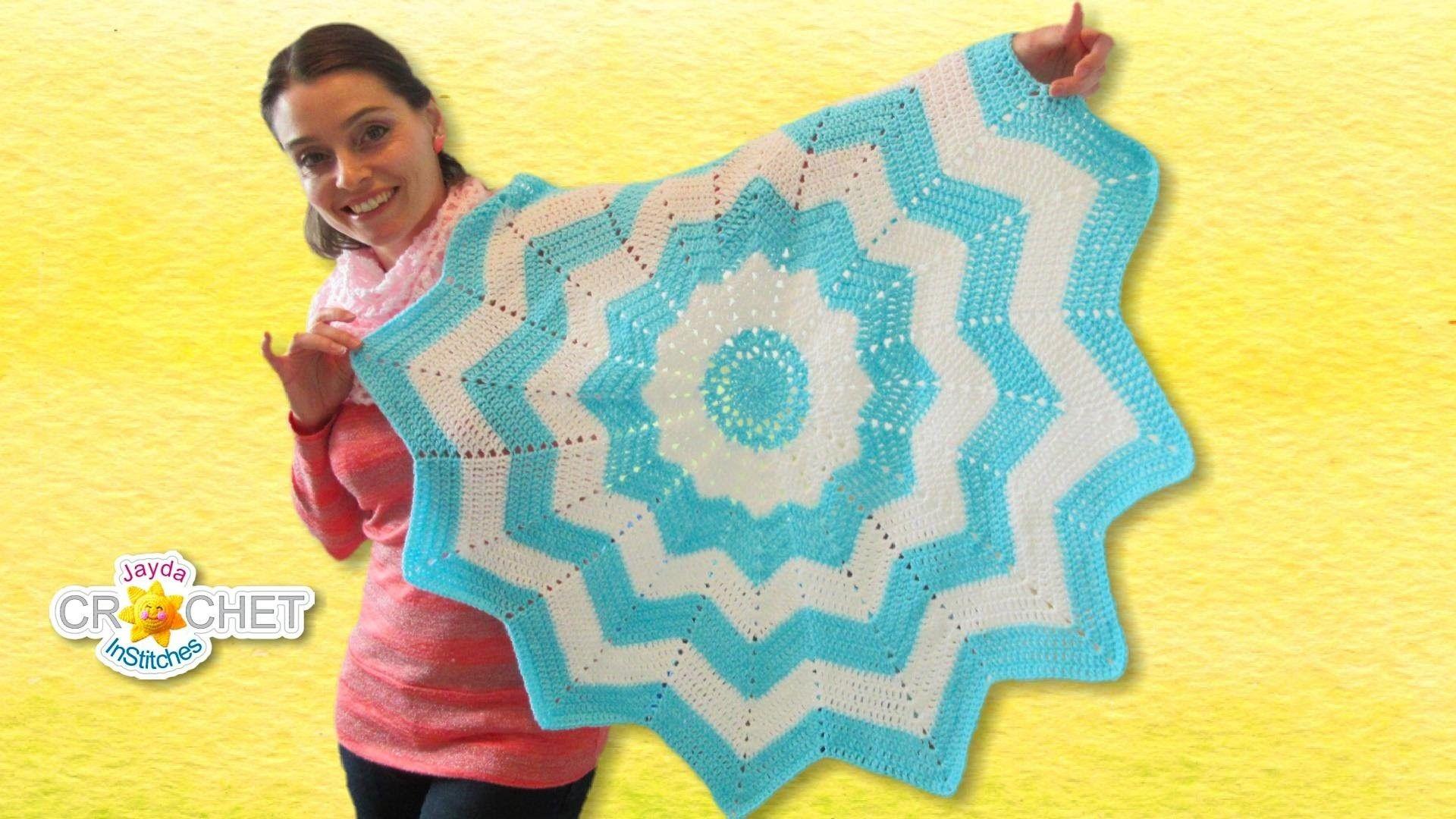 Classic Round Ripple Crochet Baby Blanket - Sunburst Pattern