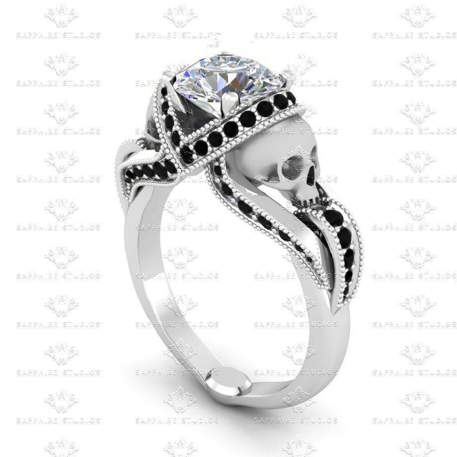 Sterling Silver Skull Ring Womens White Gold Skull Wedding Ring For Women Gothic Skull Jewelry Classic Diamond Skull Engagement Ring Ring