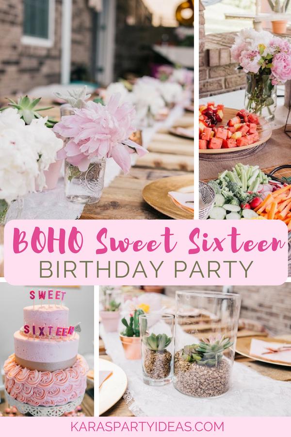 Boho Sweet Sixteen Birthday Party | Kara's Party Ideas