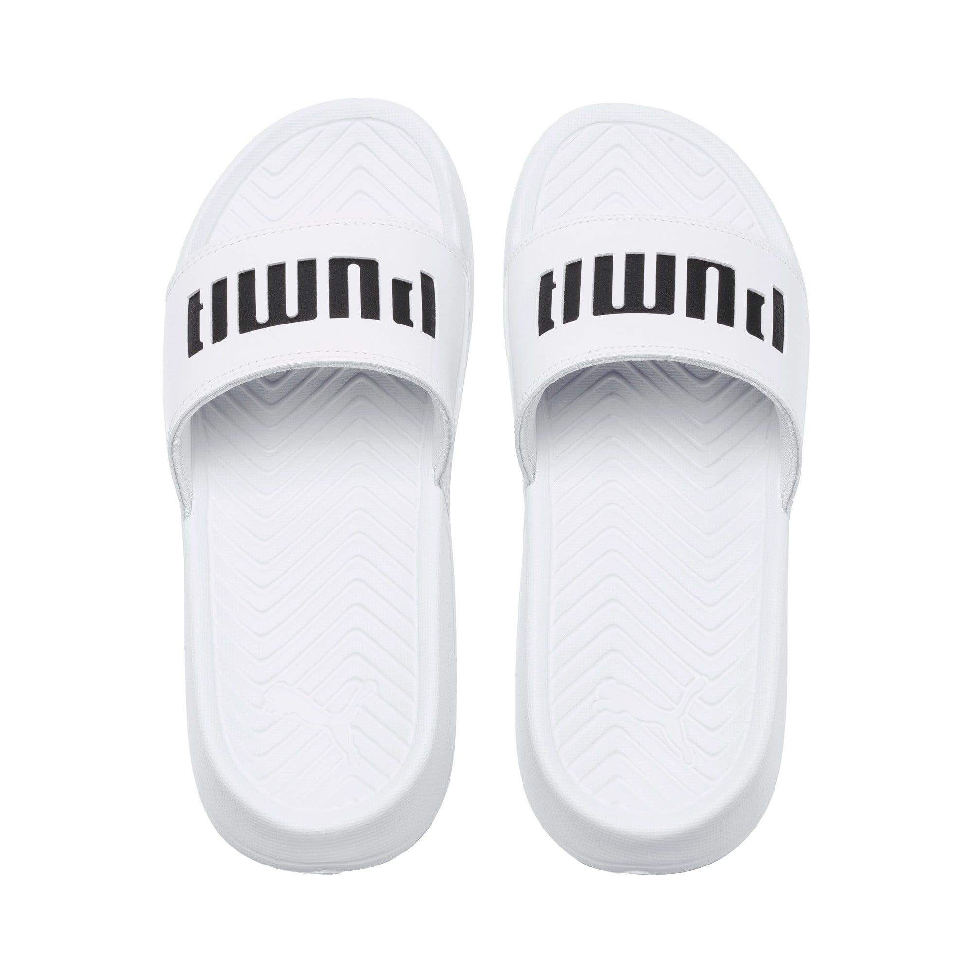 PUMA Popcat Patent Women's Sandals in White/Black size 5 #highsandals