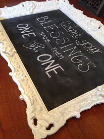 Diy Framed Chalkboard Want This For My Kitchen I Would Do Different Saying Throughout The Year Diy Chalkboard Frame Framed Chalkboard Diy Frame