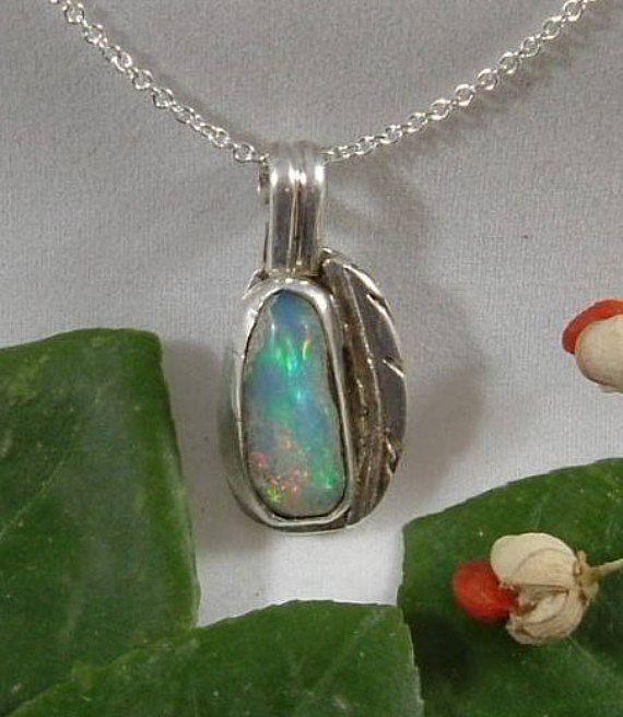 Ethiopian Fire Opal Necklace Sterling Silver Natural Gem Utah