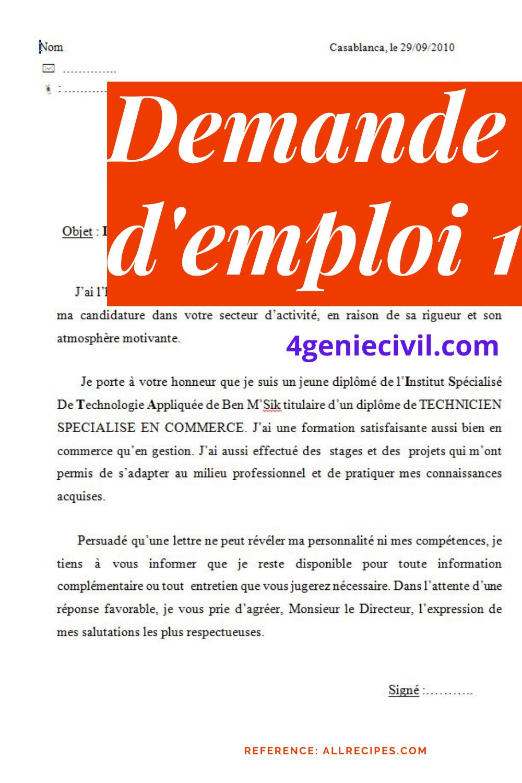 10 Lettres De Motivation De Demande D Emploi 1 Dido