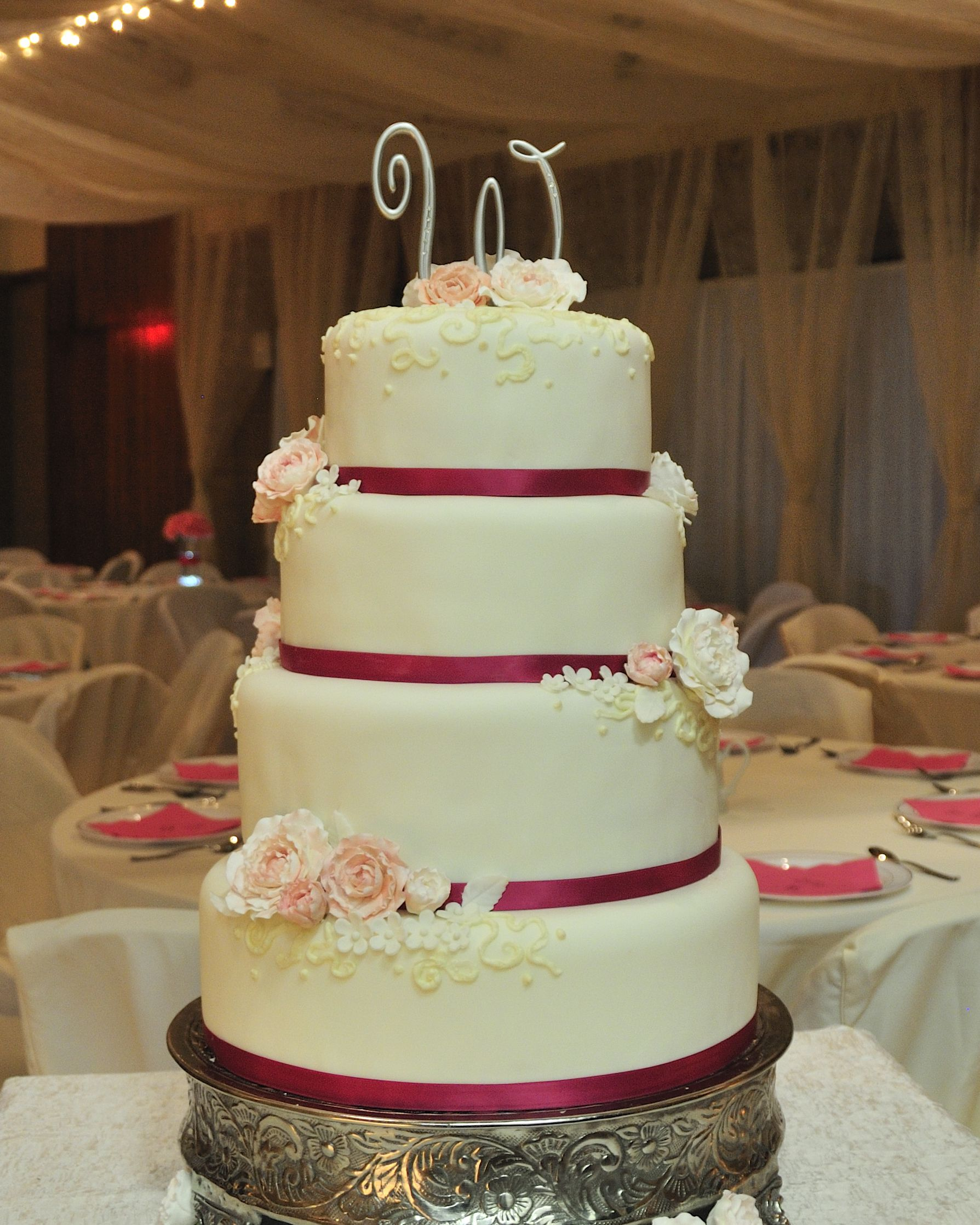 Fondant Flowers For Wedding Cakes: Fondant Wedding Cake With Gumpaste Peonies