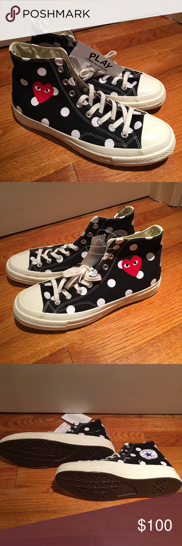 235696dd9682 Play Comme Des Garcons Converse High Tops Never worn. Brand new with tags.  High tops in mint condition. Sold out everywhere. Mens 9 US SIZING Comme des  ...