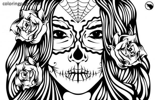 b4f25ea949c3f Female Sugar Skull Coloring Pages | Sugar Skulls | Skull coloring ...