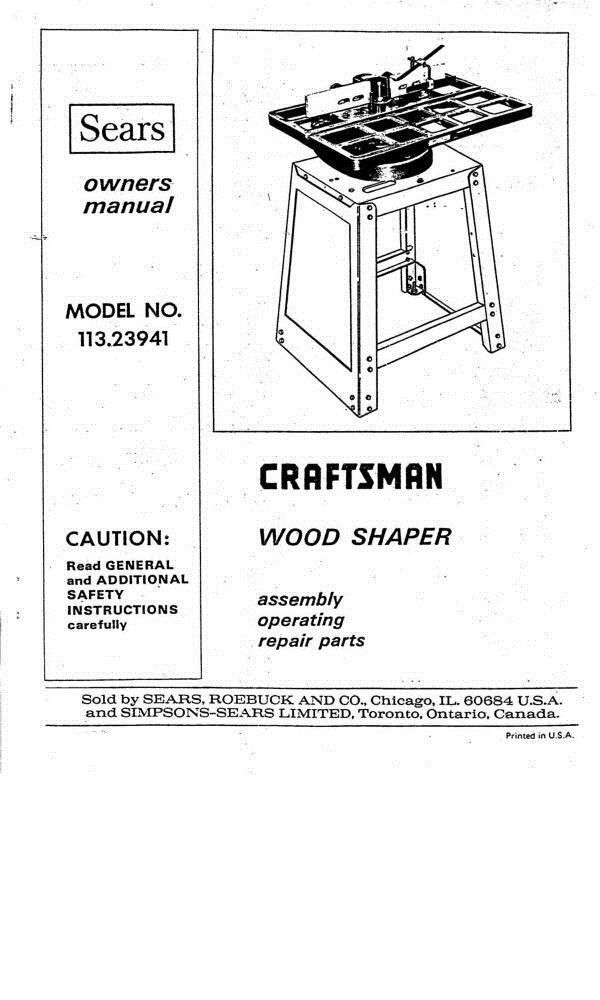 Manuals and Guides 171208: 1975 Craftsman 113.23941 Wood