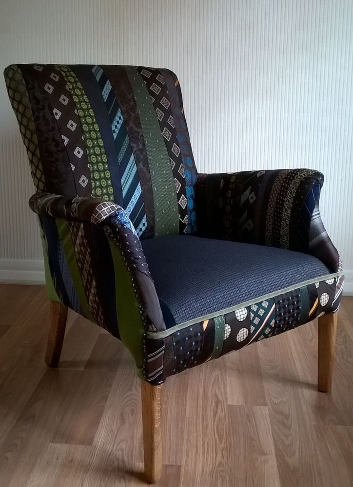 vintage parker knoll armchair, patchwork gents ties | eBay