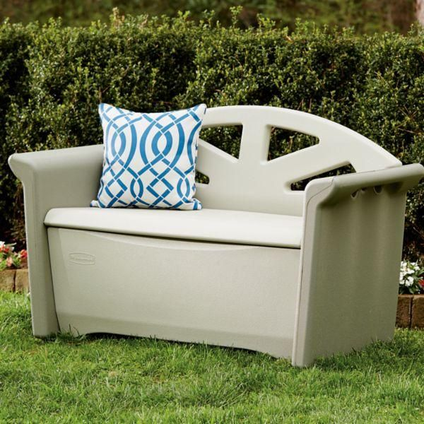 Rubbermaid Outdoor Patio Storage Bench 4 Cu Ft Olive Sandstone